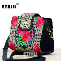 b439d906b24 Double Side Chinese Hmong Vintage Ethnic Embroidered Bags Embroidery One Shoulder  Cross-body Women Luxury
