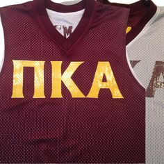 1970455ff 1431 reversible basketball jersey in maroon and white with greek lettering  in athletic gold. We provided the custom design for this customer who found  us ...