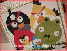 Angry Birds card tutorial using paper punches