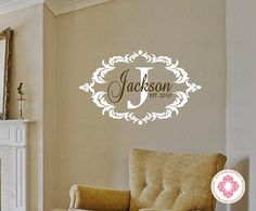 Family Name Wall Decal  Monogram Vinyl Decal by openheartcreations