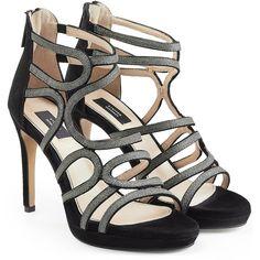 Steffen Schraut Suede Cage Sandals (335 AUD) ❤ liked on Polyvore featuring shoes, sandals, black, strappy high heel sandals, metallic platform sandals, strappy sandals, open toe sandals and black platform sandals