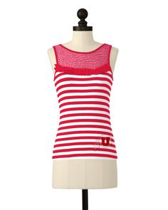 The University of Utah Team Striped Mesh Yoke Top