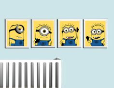 Despicable Me- Minions- Nursery Prints 4 Pack<br /><br Prints<br /><br Print<br />Printed on high quality glossy photo paper<br />Frame not included<br />Colors vary monitor to monitor<br /><br />shipped in durable cardboard photo mailer Minion Nursery, Minion Bedroom, Minion Baby, Minion Theme, Cute Canvas Paintings, Small Canvas Art, Mini Canvas Art, Nursery Prints, Nursery Art