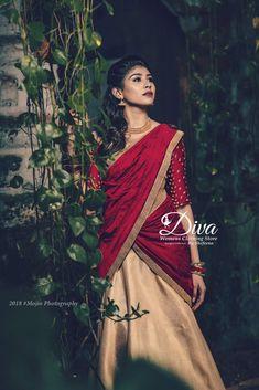 Kerala Saree Blouse Designs, Half Saree Designs, Lehenga Designs, Set Saree, Half Saree Lehenga, Saree Dress, Christian Wedding Sarees, Saree Wedding, Wedding Dress