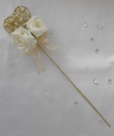 Beautiful heart or star wand flower girl bridesmaid wedding flowers silver gold Wedding Hair Flowers, Bridesmaid Flowers, Wedding Bridesmaids, Floral Wedding, Wedding Bouquets, Wedding Wands, Flower Girl Wand, Flower Girl Bouquet, Flower Girls