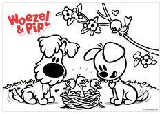 Woezel & Pip - Kleurplaat Lente