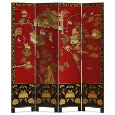 Red Chinoiserie Floor Screen - Red, the color of happiness, luck and prosperity. - Red Chinoiserie Floor Screen – Red, the color of happiness, luck and prosperity in the Chinese c - Chinoiserie Motifs, Chinoiserie Chic, Chinese Furniture, Oriental Furniture, Floor Screen, Red Floor, Bamboo Tree, Decorative Screens, Asian Decor