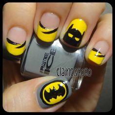 batman by   elaineqxoxo  #nail #nails #nailart