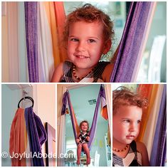 A staple in every house that has kids - an indoor swing! DIY tutorial.   Made with a baby woven wrap!