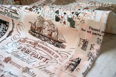 Vintage Nautical Map Fabric perfect to decorate a table at a Nautical party (from applesandeggs)