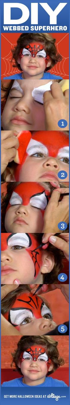How to do Spider-Man face paint for kids! #diy #halloween #howtofacepaint