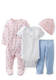 Carter's® 4-Piece Birdie Bodysuit and Pant Set