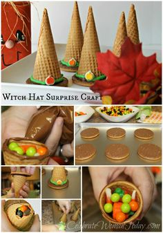 A Simple & Colorful Halloween Craft, Candy Witch Hat Surprise Craft