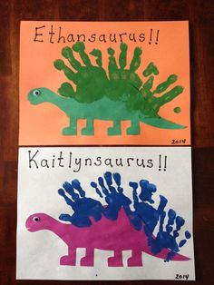Sweet Handprint Dinosaur and Name Activity in One! More