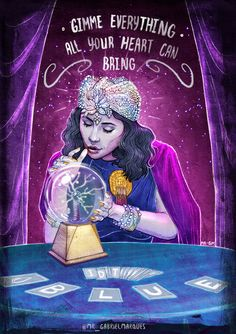 "Illustration of Marina and the Diamonds ( planetfroot ) as ""Madame Marina - The Fortune Teller"" by Mr. Gabriel Marques - Inspired by the video Blue, directed by Charlotte Rutherford."