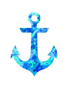 Aqua blue anchor print anchor waterclolor by FluidDiamondArt