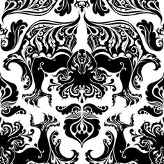 I Love Craft (Cthulhu Damask) black and white fabric by rosalarian on Spoonflower - custom fabric