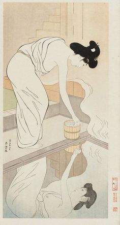 Woman Preparing to Bathe, Her Image Reflected in the Water by Hasiguchi Goyo (designed 1918; printed ca. 1950).
