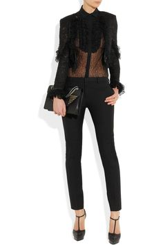 Saint Laurent | Ruffled lace jacket | NET-A-PORTER.COM