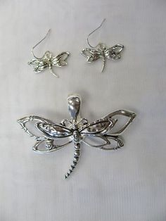 Silver Plated Dragonfly Slide Charm Pendant and Earrings 1025 New | eBay