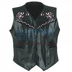 Ladies Rose Leather Vest for $101.50 - https://www.leathercollection.com/en-we/ladies-rose-leather-vest.html