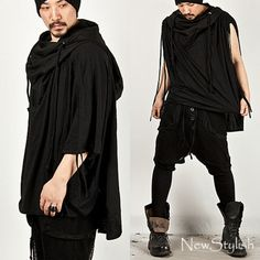 NewStylish-Mens-Cool-Fashion-Tops-Jacket-String-Accent-Big-Turtle-Poncho-Hoodie