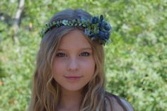 Blueberry & Thistle Flower Crown Flower Girl by BohoHaloCompany