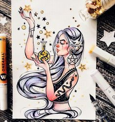 ♕98sfashion♕ Art And Illustration, Art Drawings Sketches, Cool Drawings, Amazing Drawings, Tattoo Sketches, Tattoo Drawings, Witch Drawing, Arte Sketchbook, Witch Art