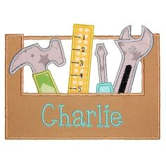 ToolboxApp_pa  .. An applique of a toolbox, hammer, screwdriver, and wrench. Can embroider a name across the front of the toolbox, but the font used in the sample stitch out is not included.