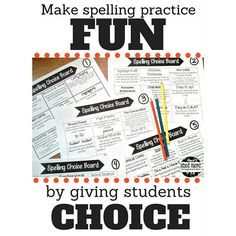 Spelling practice can be meaningful AND fun! Give students a choice with Spelling Choice Boards.  This resource contains 5 different boards with a total of 45 different choices of activities!