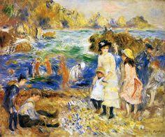 Pierre Auguste Renoir - Beach Scene, Guernsey (Children by the Sea in Guernsey) 1883