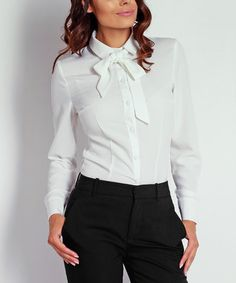 Ecru Tie-Neck Button-Up Naoko, White Butterfly, Chic, Clothes Horse, Button Up, Off White, Work Wear, Ruffle Blouse, How To Wear