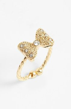 Crystal Bow Ring (Juniors) available at Cute Jewelry, Jewelry Box, Jewelry Accessories, Fashion Accessories, Jewelry Design, Jewlery, Cute Rings, Pretty Rings, Beautiful Rings