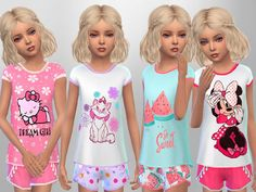 The Sims 4 Girls Summer Sleepwear (Mesh) by SweetDreamsZzzzz Available at The Sims Resource DOWNLOAD Set of 4 girls sleepwear outfits for sleepwear and everyday Poses by MartyP Creator Notes You need Kids Room Stuff Pack Type: Outfits Recoloring Allowed: Yes Creating Tool used: Sims4Studio ID: SC4-105049 Category Tags: Clothing , Fashion , Girl's Sleepwear , Sleepwear , Female , Child