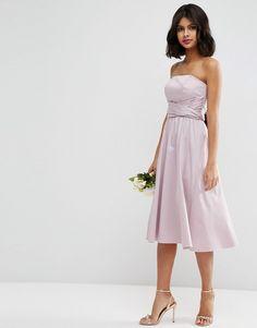 Image 1 ofASOS WEDDING Structured Midi Dress with Bow Detail