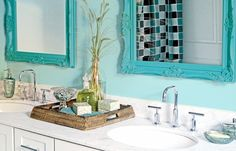 This bathroom has a sense of sassy style.     Find out what type of home decor personality you have by taking our Stylescope quiz. Click here!