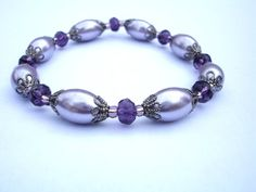 Purple bracelet with lavendar lilac pearl glass beads by firesky7, $10.00