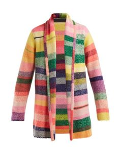 The Elder Statesman Italy Intarsia Stripe Cashmere Smoking Jacket - Womens - Pink Multi Cashmere Jacket, Cashmere Sweaters, Smoking Jacket, Leather Trousers, Wrap Sweater, All About Fashion, My Wardrobe, Knitwear, Pink Ladies
