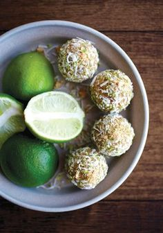 You could have a slice of key lime pie or a coconut cake before bed—but we're willing to bet that you'll have a more restful night's sleep if you opt instead for one of these fiber- and vitamin-rich yet still tropical-inspired snacks. They start with almond meal (or ground almonds), coconut flour, shredded coconut, maple syrup, lime juice, almond milk and lime zest. Then you add chopped dates until you've got a mixture you can form into balls.