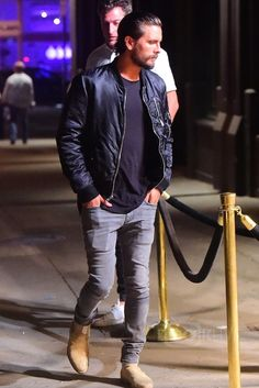 Scott Disick wearing Common Projects Suede Chelsea Boots, Blk Dnm Classic Bomber Jacket and Saint Laurent Original Low Waisted Skinny Jean in Washed Grey Stretch Denim Chelsea Boots Outfit, Chelsea Boots Style, Suede Chelsea Boots, Mode Masculine, Scott Disick Style, Stylish Men, Men Casual, Star Fashion, Mens Fashion
