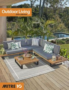 Montego 3 Piece Corner Lounge Setting Acacia (FSC and powder-coated steel and aluminium frame coffee table and corner lounger. Throw cushions not included. Mix & Match not available with this set. Outdoor Furniture Sets, Outdoor Decor, Throw Cushions, Acacia, Mix Match, 3 Piece, Outdoor Living, Powder, Lounge