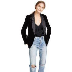 Joie Mehira H Blazer (22.950 RUB) ❤ liked on Polyvore featuring outerwear, jackets, blazers, caviar, shawl lapel jacket, fleece-lined jackets, smoking jacket, lapel jacket and blazer jacket