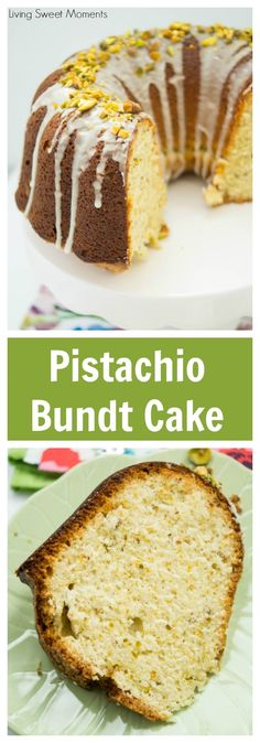 This delicious Pistachio Bundt Cake Recipe is made entirely from scratch and is topped with a sweet vanilla icing. Perfect for dessert, brunch, or anytime! More dessert recipes at livingsweetmoments.com  via @Livingsmoments
