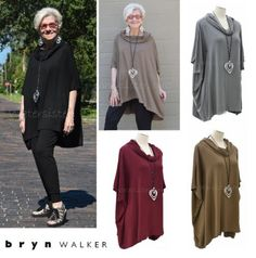 BRYN-WALKER-French-Terry-Jersey-COWL-PONCHO-Boxy-Tunic-Top-XS-S-M-L-XL-4-COLORS