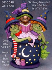 Witch Triplets taking a beauity bath - Click Image to Close Holidays Halloween, Halloween Themes, Halloween Decorations, Halloween Wreaths, Polymer Clay Creations, Polymer Clay Art, Pumpkin Patch Kids, Halloween Wood Crafts, Ceramic Bisque