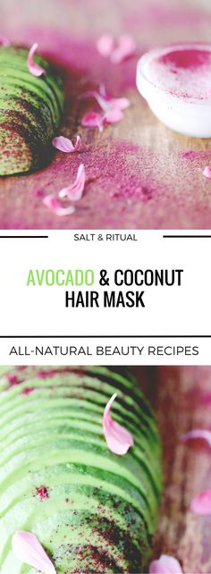 Simple two ingredient DIY natural hair mask for dry and damaged summer hair. Avocado and coconut leaves hair soft and moisturized. Easy to make and easy on the budget vegan hair mask deep conditioner.