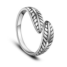 SWEETIEE&reg Vintage Leaf 925 Sterling Silver Finger Rings, Antique SilverPSize: about 17mm inner diameter(Adjustable), 7mm wide; pPacking size: 53x53x37mm.