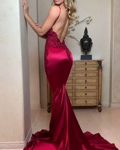 Champagne Mermaid Prom Dresses Long Spaghetti Straps Evening Dresses - sexy mermaid prom dresses Source by hotemaxx - Glam Dresses, Backless Prom Dresses, Mermaid Prom Dresses, Satin Dresses, Sexy Dresses, Beautiful Dresses, Fashion Dresses, Gowns, Dance Dresses