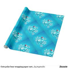 Cute polar bear wrapping paper cartoon great for Christmas wrapping birthday party his or her party cute, fun, cartoon design, home, craft idea, zazzle store, holiday,