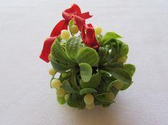 Vintage Mistletoe Plastic Hanging Ball Ornament by EtagereAntiques